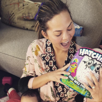 Chrissy Teigen shares pics from Luna's first Christmas, complete with a Hatchimal