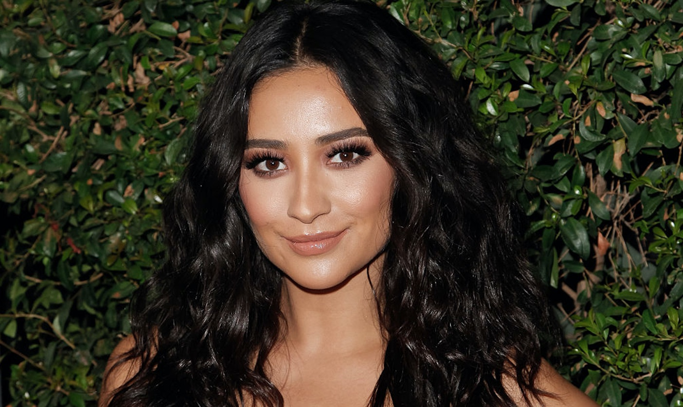 Shay Mitchell's faux fur coat matches her dog, and it's an optical illusion