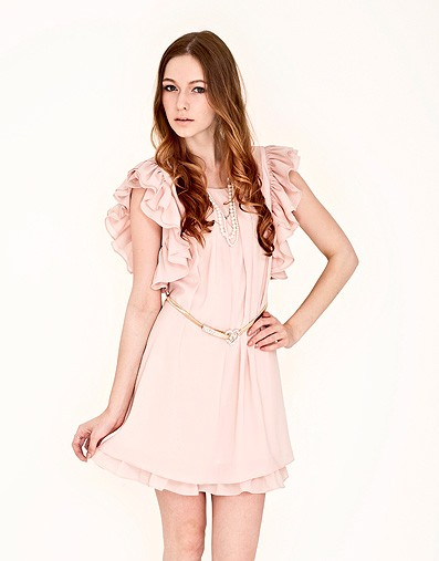 flutter-sleeve-chiffon-dress-with-belt-light-pink