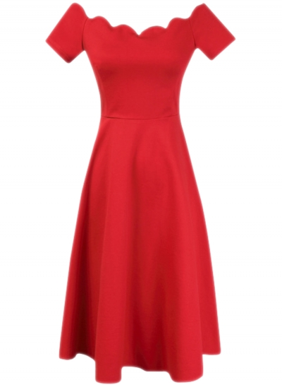 women-s-vintage-scalloped-off-shoulder-a-line-dress