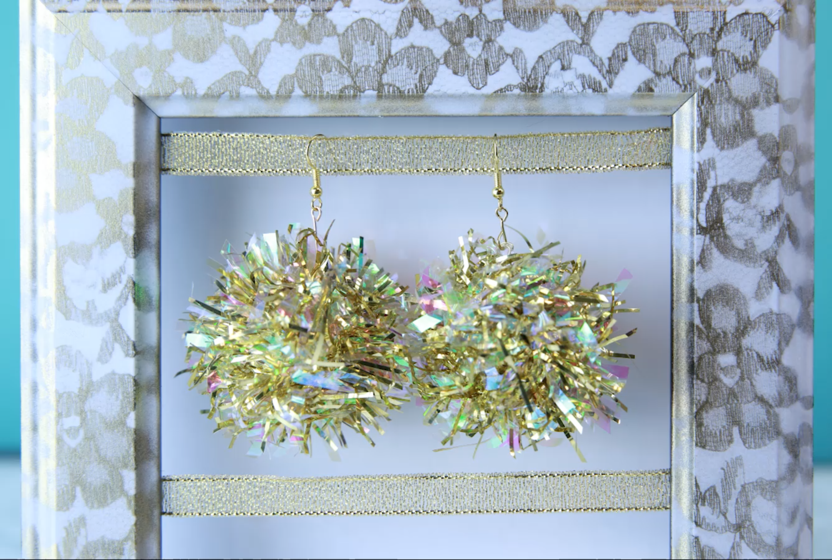 Sparkle on New Year's Eve with these DIY tinsel earrings