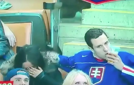 This guy making out with his beer on a kiss cam is actually making us laugh out loud, so, thanks guy!