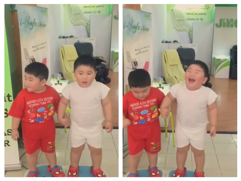 "These little boys standing on a ""vibration plate"" will make your inner kid extremely happy"