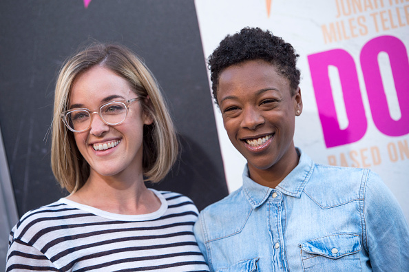 Samira Wiley and her fiancee look gorgeous in this black-and-white couple's portrait