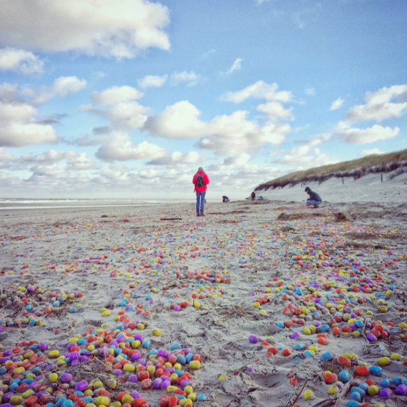 Thousands of toy eggs washed up on a German beach and the pictures are intense