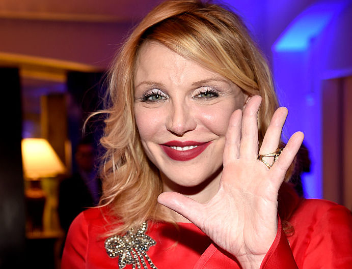 We are obsessed with Courtney Love's red ruffled dress