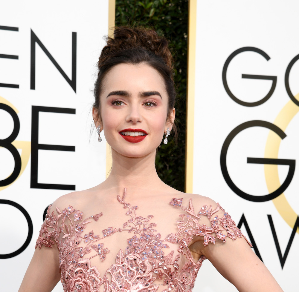 Lily Collins looks just like Princess Aurora on the Golden Globes red carpet