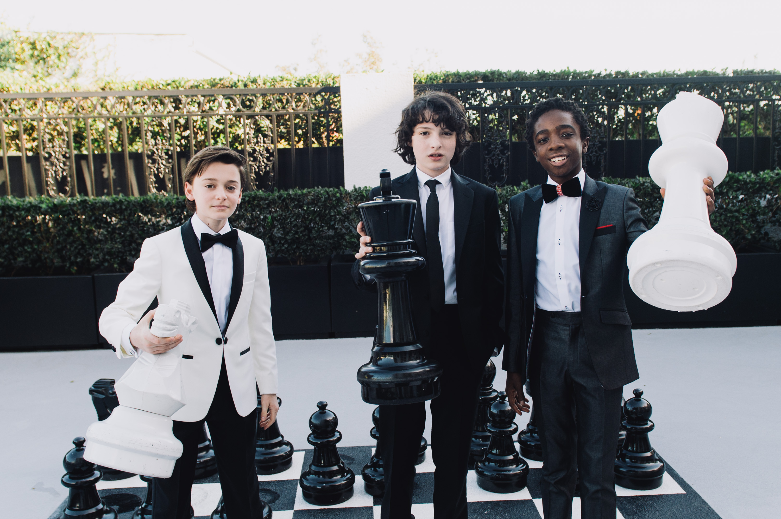 Finn Wolfhard, Caleb McLaughlin and Noah Schnapp Prepare For The 74th Annual Golden Globe Awards