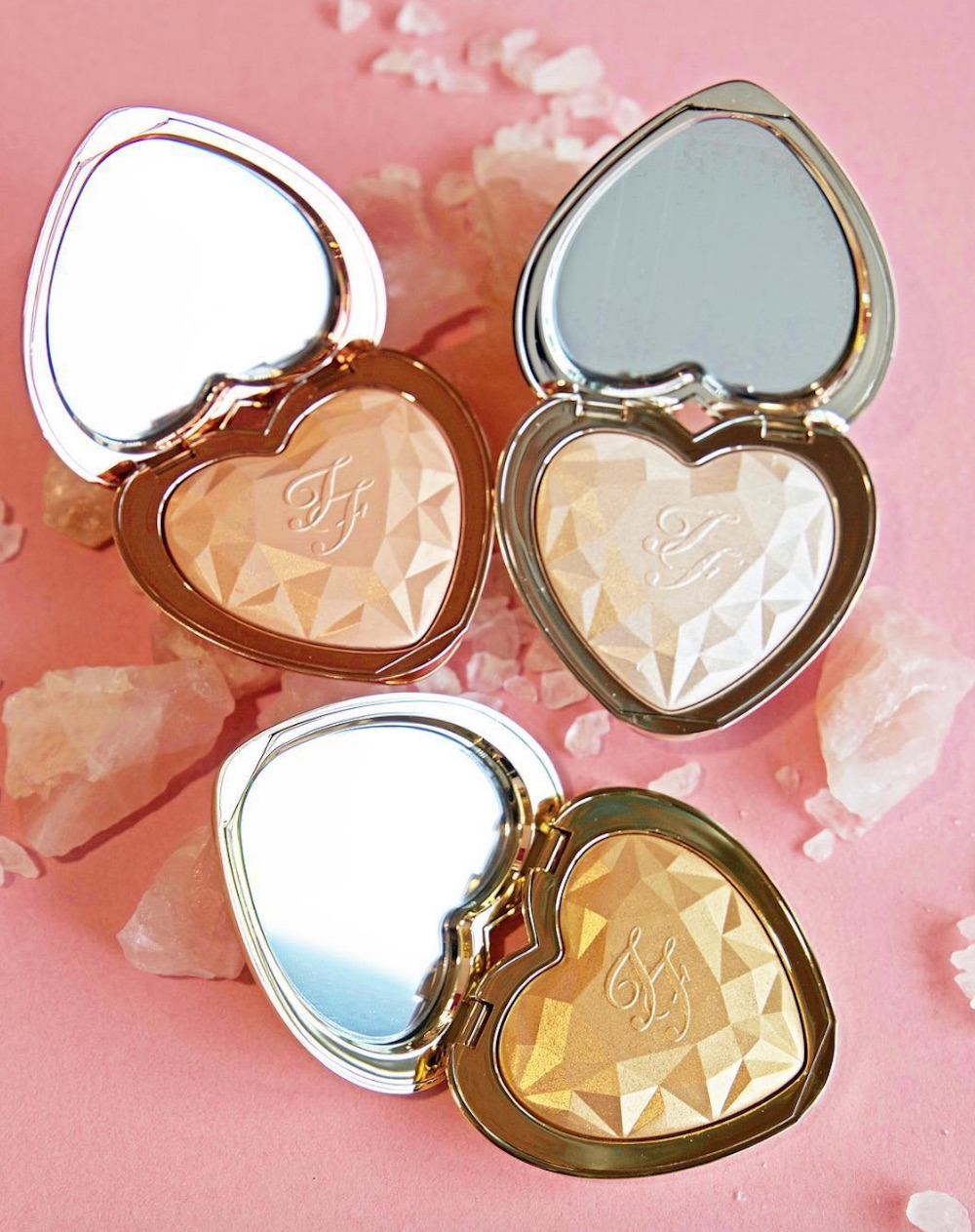 Too Faced's new highlighters remind us of crystalline hearts, and we are so in love