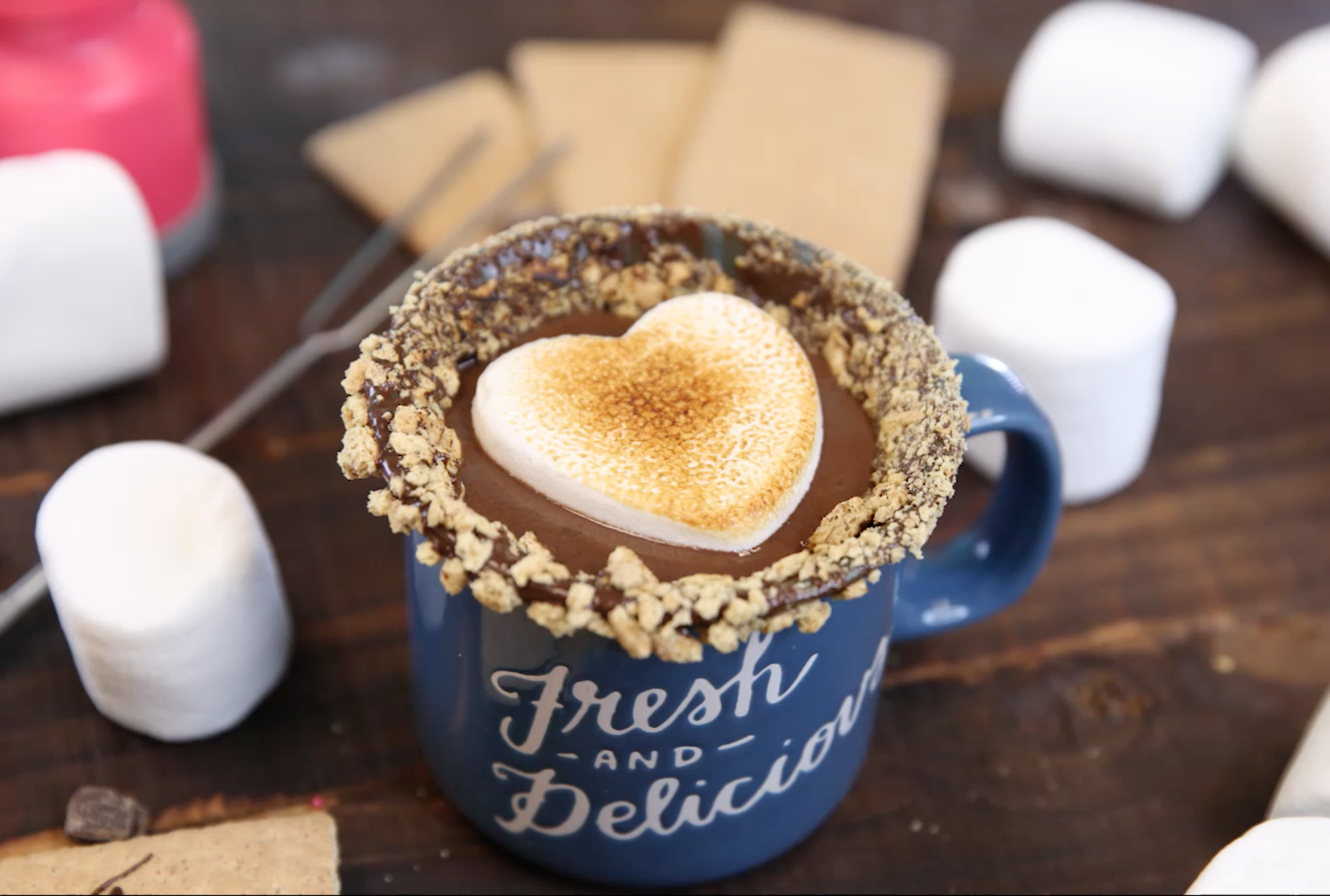 "Stop everything, this ""campfire s'mores"" hot chocolate is #drinkgoals"