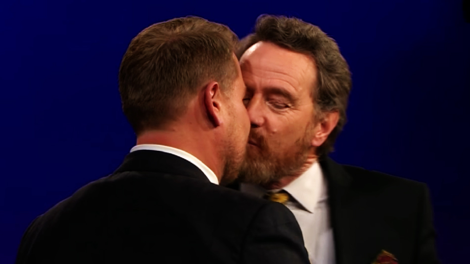 "Bryan Cranston, Jessica Biel, and James Corden demonstrated first kisses on ""The Late Late Show,"" and things got steamy"
