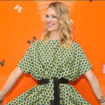January Jones' incredibly wide legged jumpsuit is serving major '70s vibes