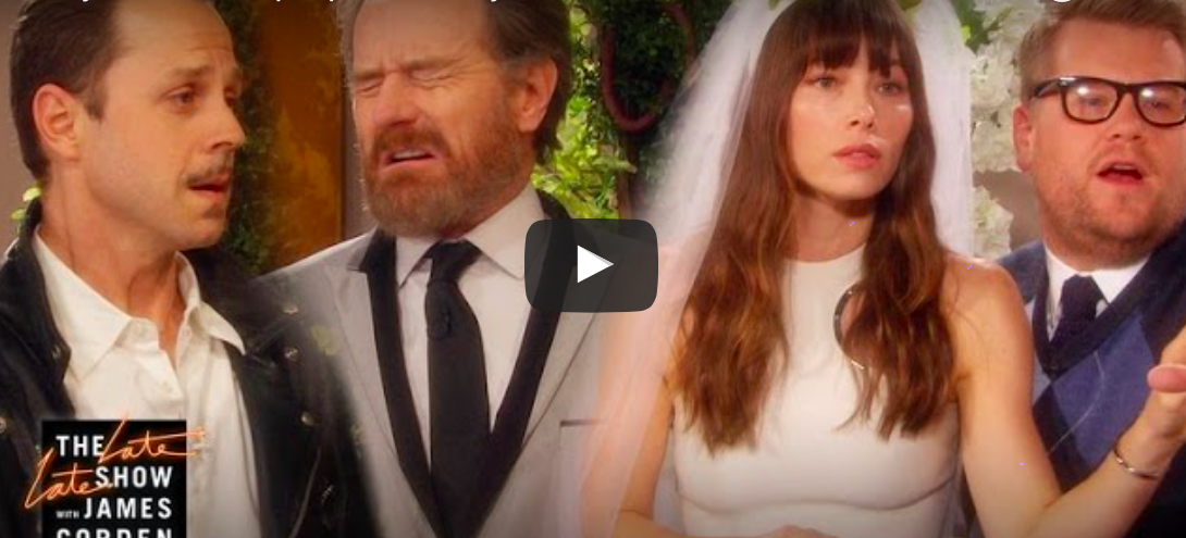 We can't stop giggling at James Cordon, Jessica Biel and Bryan Cranston performing a ~Kanye West soap opera~