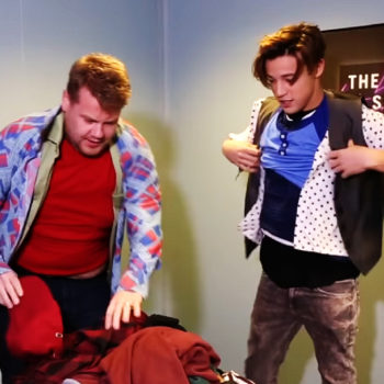 Watch James Corden and Cameron Dallas perform a funny and impressive two-minute clothing challenge
