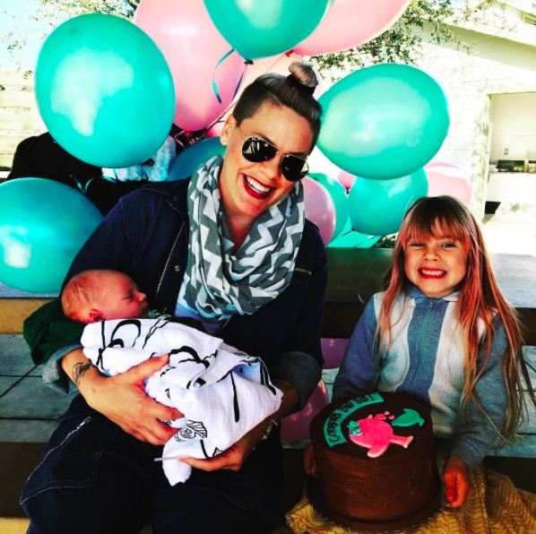 Pink says her daughter Willow is a little jealous of new baby Jameson, but they're working on it!