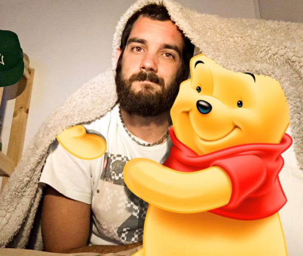 "This adorable bearded man creates art that lets him ""hang out"" with his fave Disney characters"