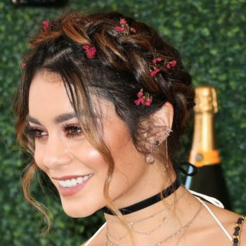"Vanessa Hudgens is giving us major ""Grease"" vibes in this black off-the-shoulder number"