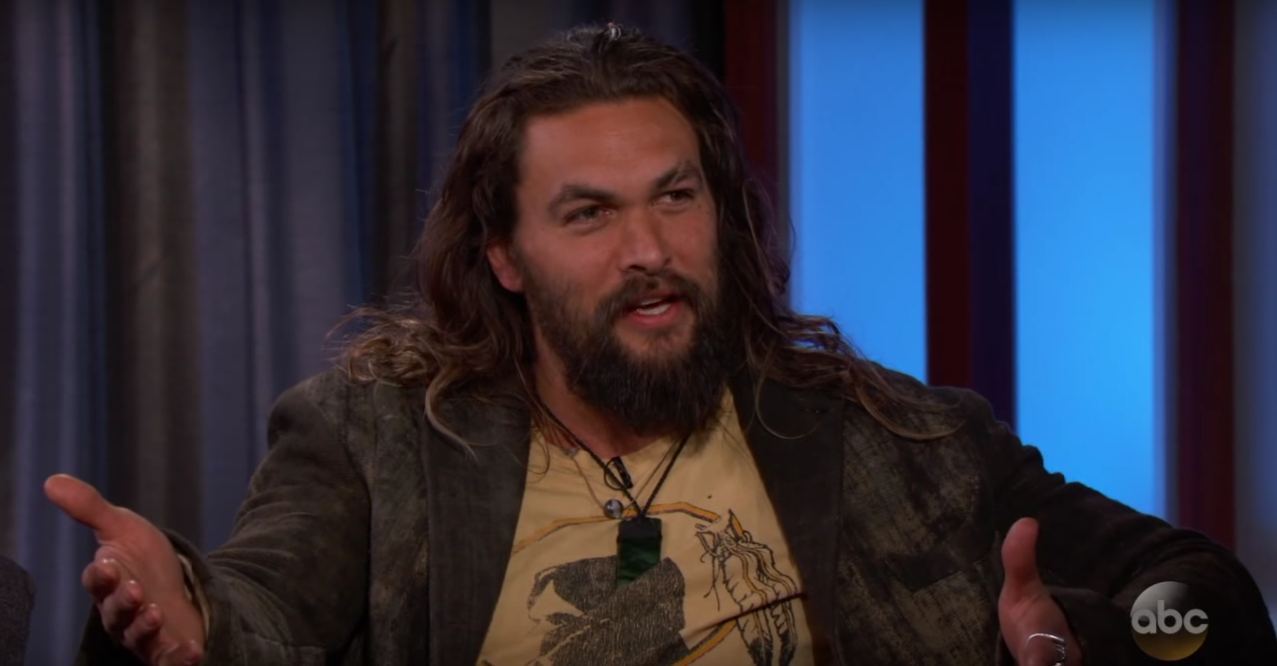 Jason Momoa, actual Khal Drogo, casually hurled axes onstage while drinking a Guinness
