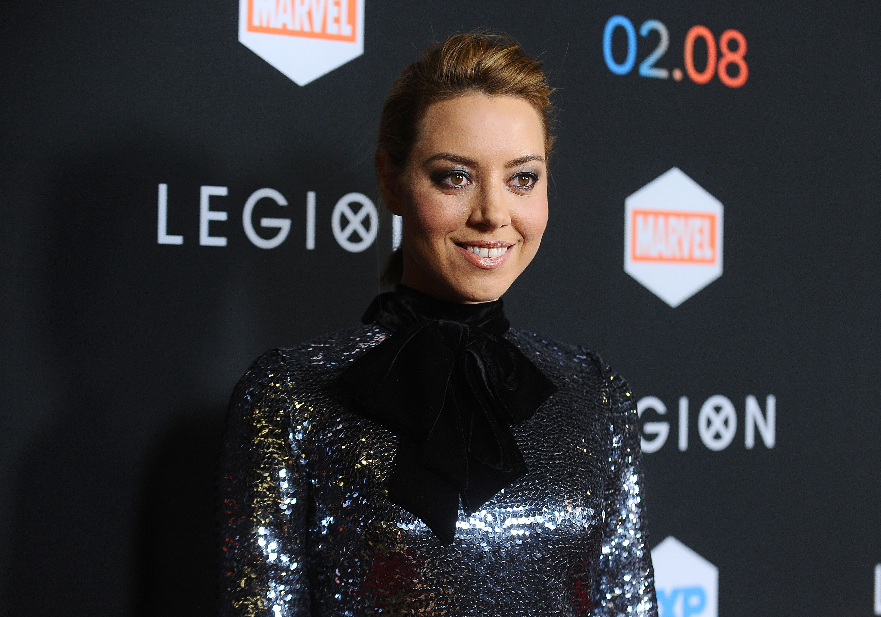 Aubrey Plaza wore a chrome sequin minidress, and we are obsessed with this look