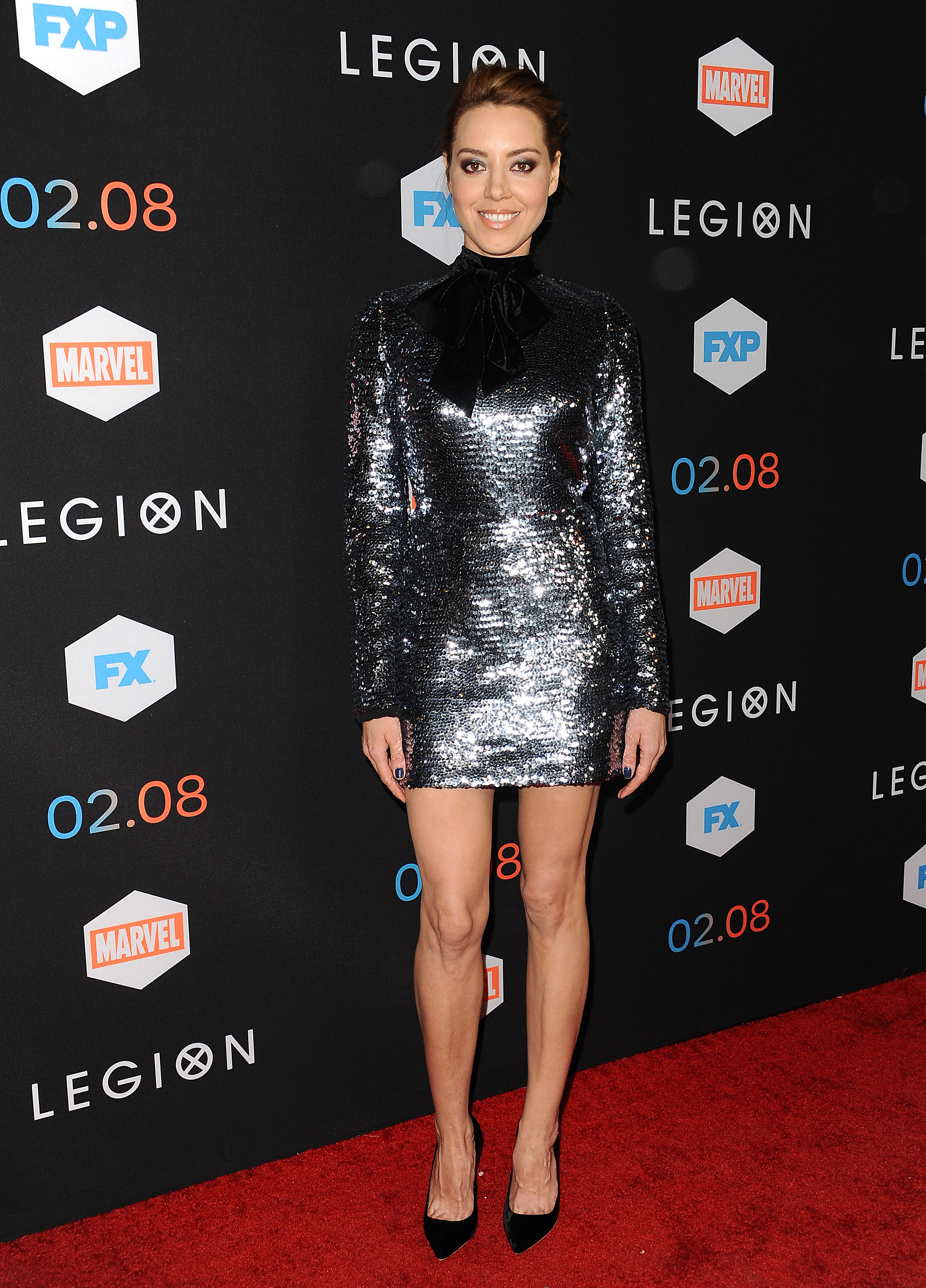 Aubrey Plaza wore a chrome sequin minidress, and we are