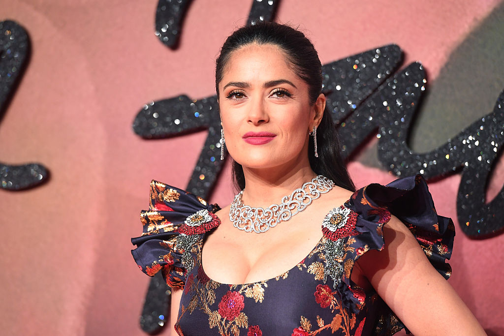 Salma Hayek wore a multicolored dress with flower jewel buttons, and that's not even the most interesting part