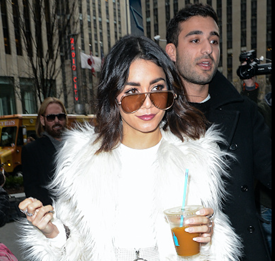 Vanessa Hudgens shows us the perfect way to make a fur coat unfussy