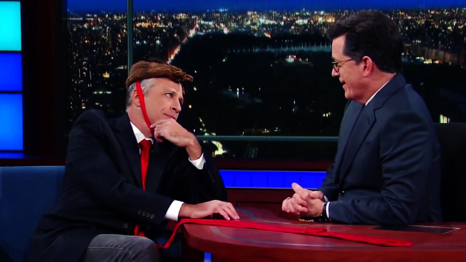 A bewigged Jon Stewart reunited with Stephen Colbert last night, and it felt so right