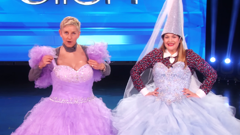 "Drew Barrymore and Ellen DeGeneres played ""Heads Up"" in big fluffy princess dresses, and it's a sight to behold"
