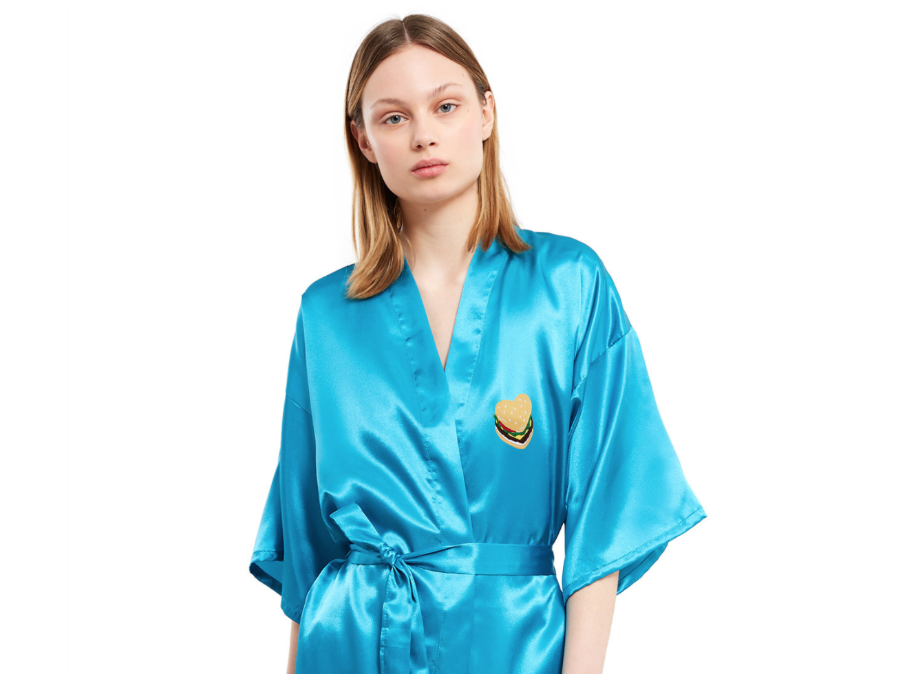 "This ""satin hamburger heart robe"" is the only thing you need to gift yourself this Valentine's Day"