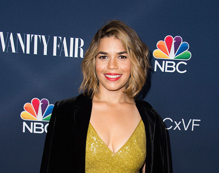 America Ferrera looks like she'll be joining Molly Ringwald at prom in this '80s-esque dress