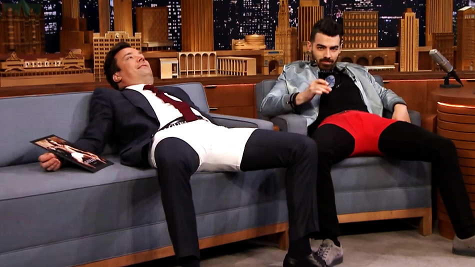Joe Jonas helped Jimmy Fallon model underwear, because he's just that kind of guy