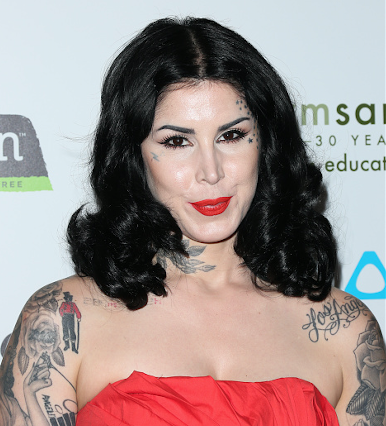 Kat Von D wore the most amazing latex catsuit to announce the relaunch of her Saint and Sinner perfumes