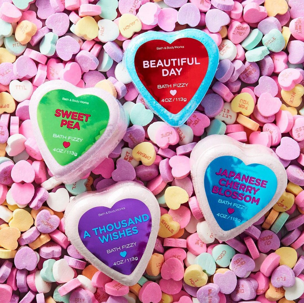 Bath and Body Works released new bath fizzies that look like conversation hearts
