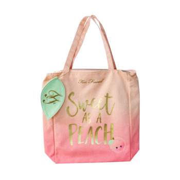 Too Faced's adorable Sweet Peach tote is the perfect carryall bag for a girl's getaway trip