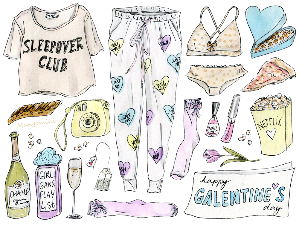 Here's exactly what you need to have the best Galentine's Day, illustrated