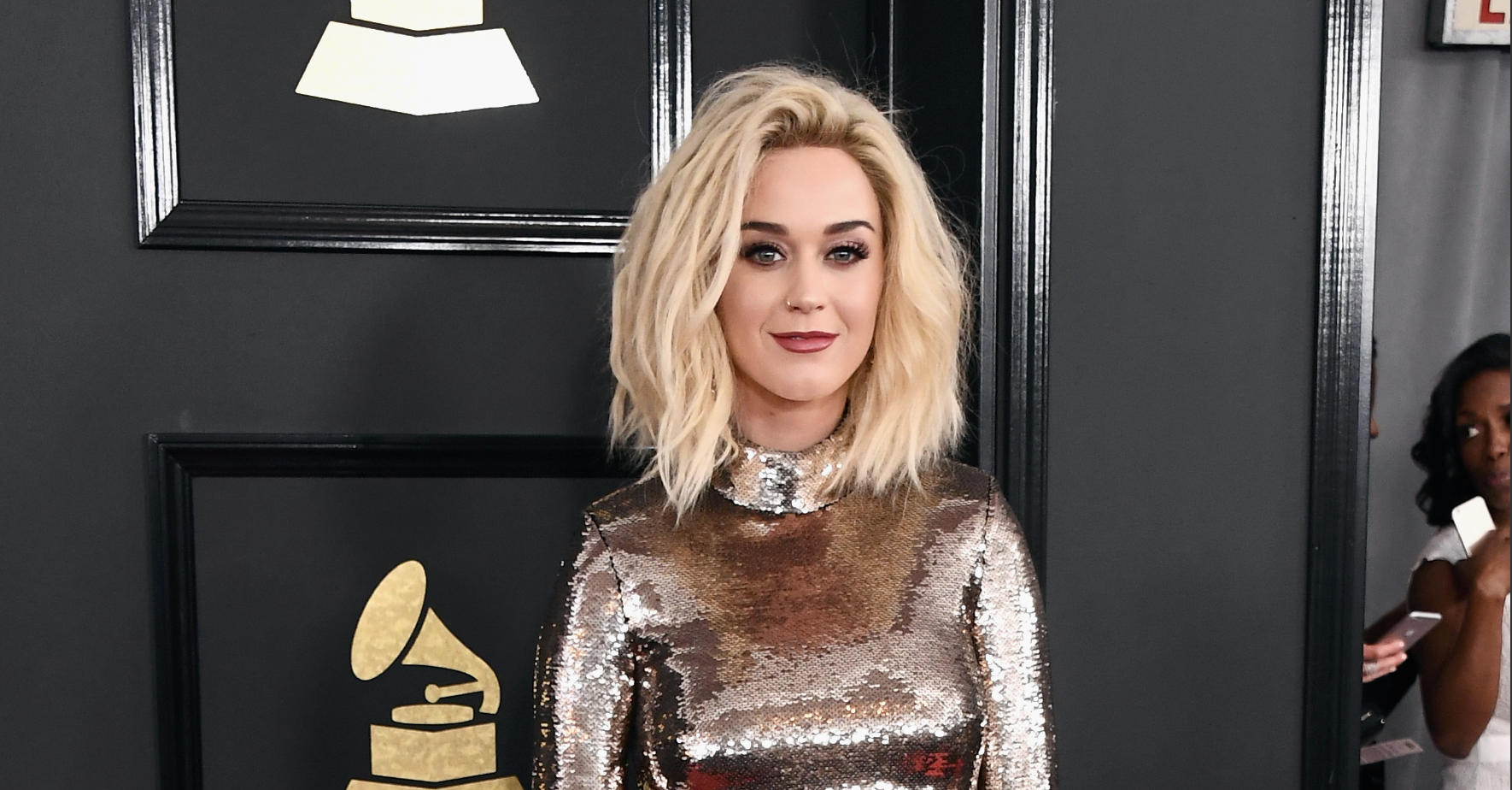 Katy Perry's sparkly martini-inspired dress took the Grammys red carpet to the next level