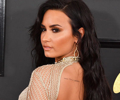 Demi Lovato sizzles in a plunging, open-front sheer dress at the Grammys