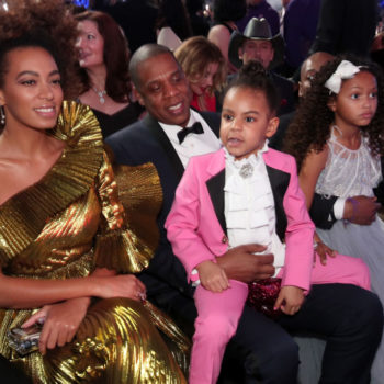 Let's talk about how precious Blue Ivy is in this pink power suit at the Grammys