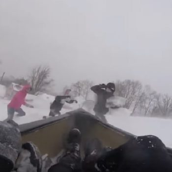 This sled canoe lost control and hit someone, and the footage is seriously frightening