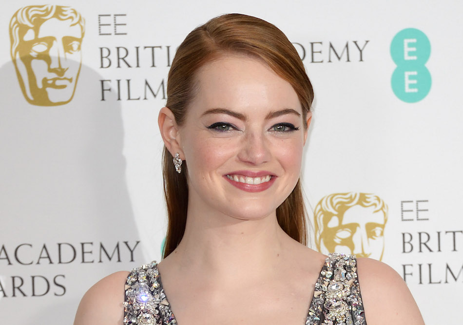 Emma Stone wore pants underneath her bejeweled gown at the BAFTAs, and looks so comfortably confident