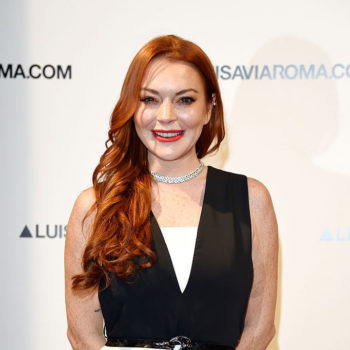 Lindsay Lohan's cosmic boots are perfect for a freezing spring day — because fashion can't be stopped