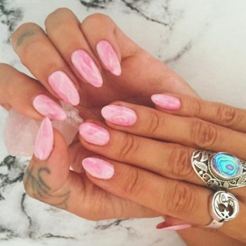Rose quartz nails are bewitching and perfect for spring