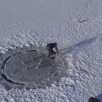 Here's a really fast carousel made of ice, which looks a lot scarier than it sounds