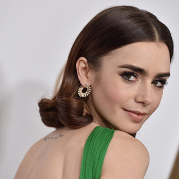 Lily Collins won red carpet fashion with this translucent kaleidoscope dress