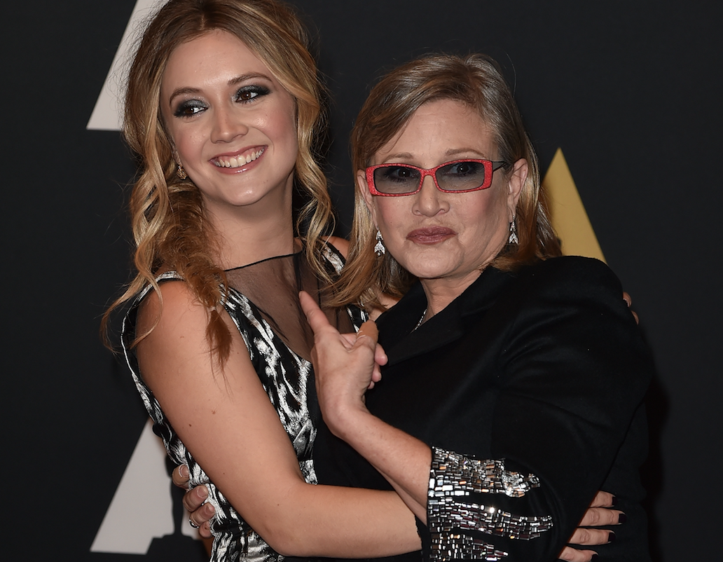 Billie Lourd just posted a stunning black-and-white childhood throwback pic with Carrie Fisher
