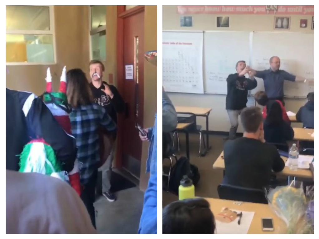 This teacher had a *very* unexpected reaction to a surprise birthday party thrown by his students