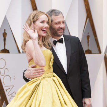 "If you ever wondered what *BLONDE* Belle from ""Beauty and the Beast"" would look like, Leslie Mann at the Oscars just answered you"