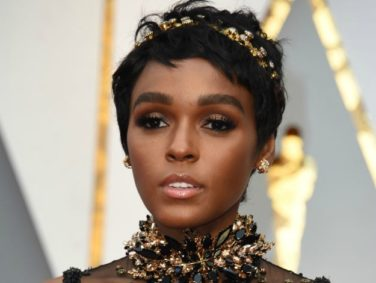 Janelle Monáe's translucent dress is covered by silver birds on the Oscars red carpet