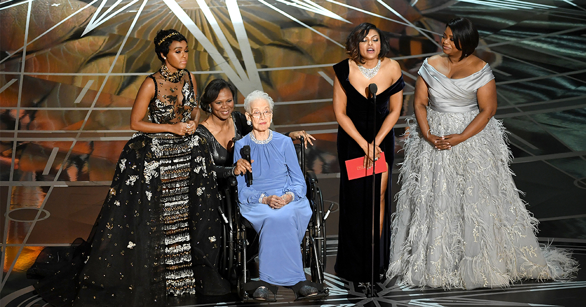 """The cast of """"Hidden Figures"""" brought the real Katherine Johnson on stage, and no you're crying"""