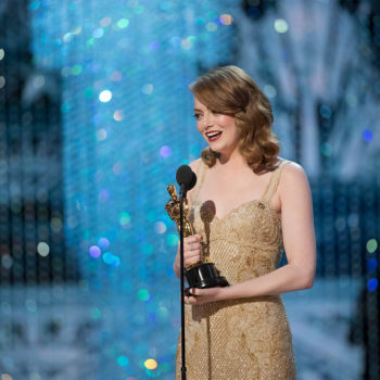 We need Emma Stone's polka dot blazer she wore at the Oscars after-party